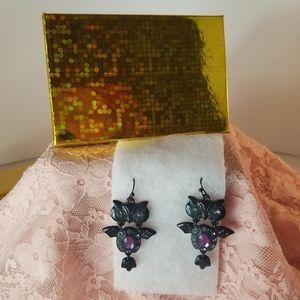 Jewelry - Owl Bling Earrings New